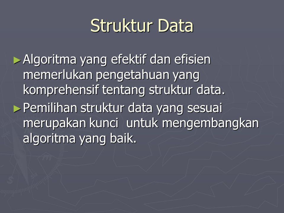 Struktur Data Algoritma yang efektif dan efisien memerlukan pengetahuan yang komprehensif tentang struktur data.