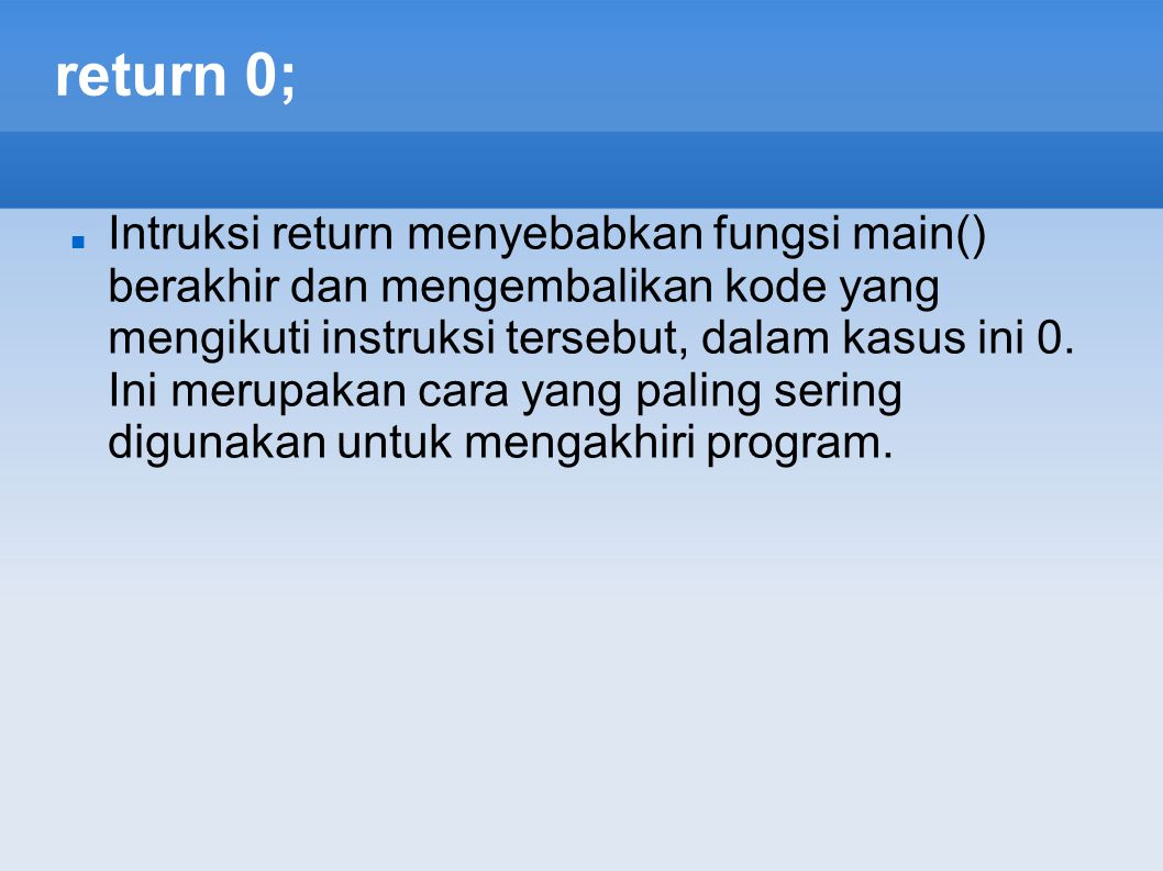 return 0;