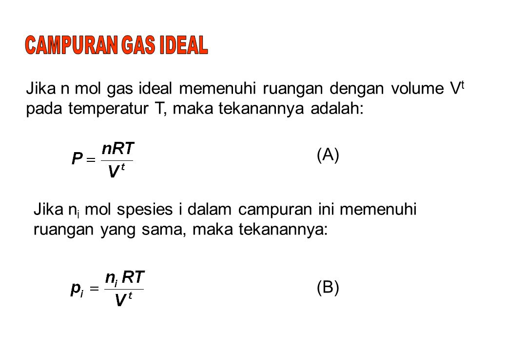 CAMPURAN GAS IDEAL Jika n mol gas ideal memenuhi ruangan dengan volume Vt pada temperatur T, maka tekanannya adalah: