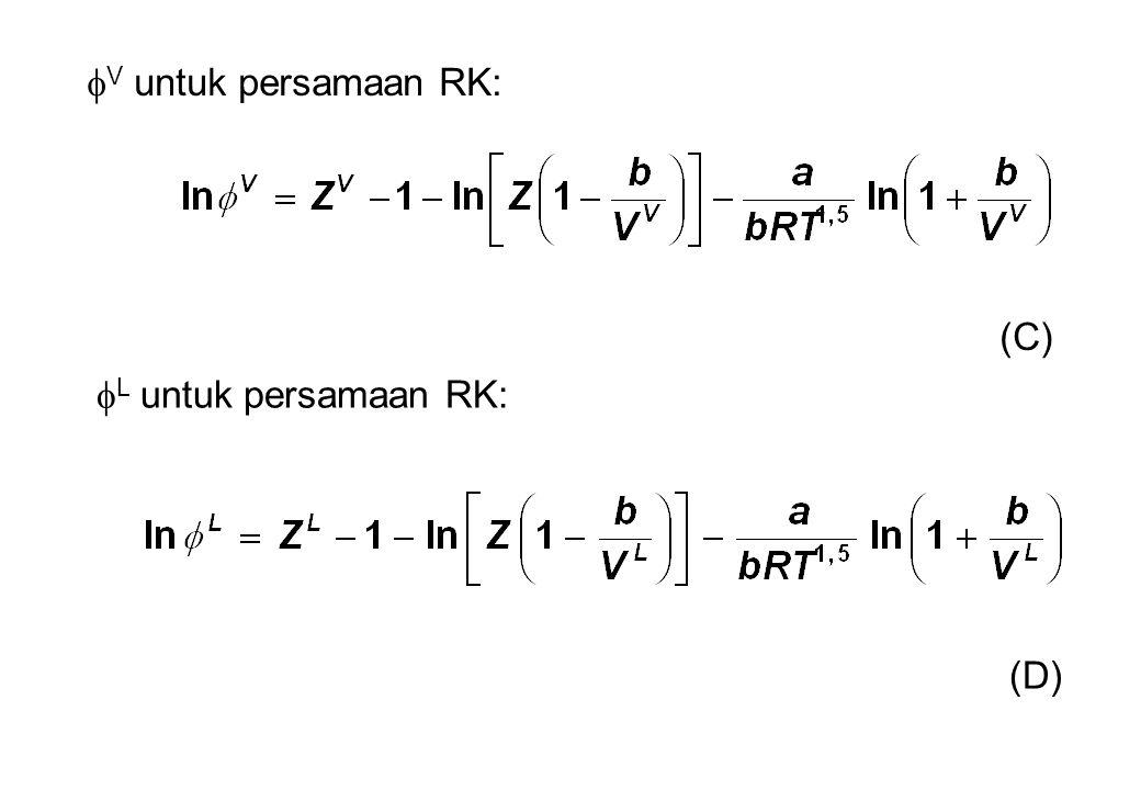 V untuk persamaan RK: (C) L untuk persamaan RK: (D)