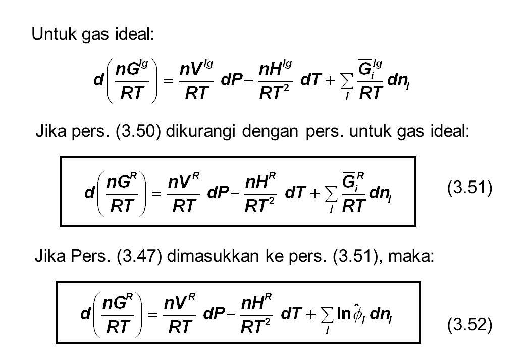 Untuk gas ideal: Jika pers. (3.50) dikurangi dengan pers. untuk gas ideal: (3.51) Jika Pers. (3.47) dimasukkan ke pers. (3.51), maka: