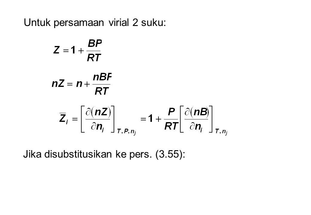Untuk persamaan virial 2 suku: