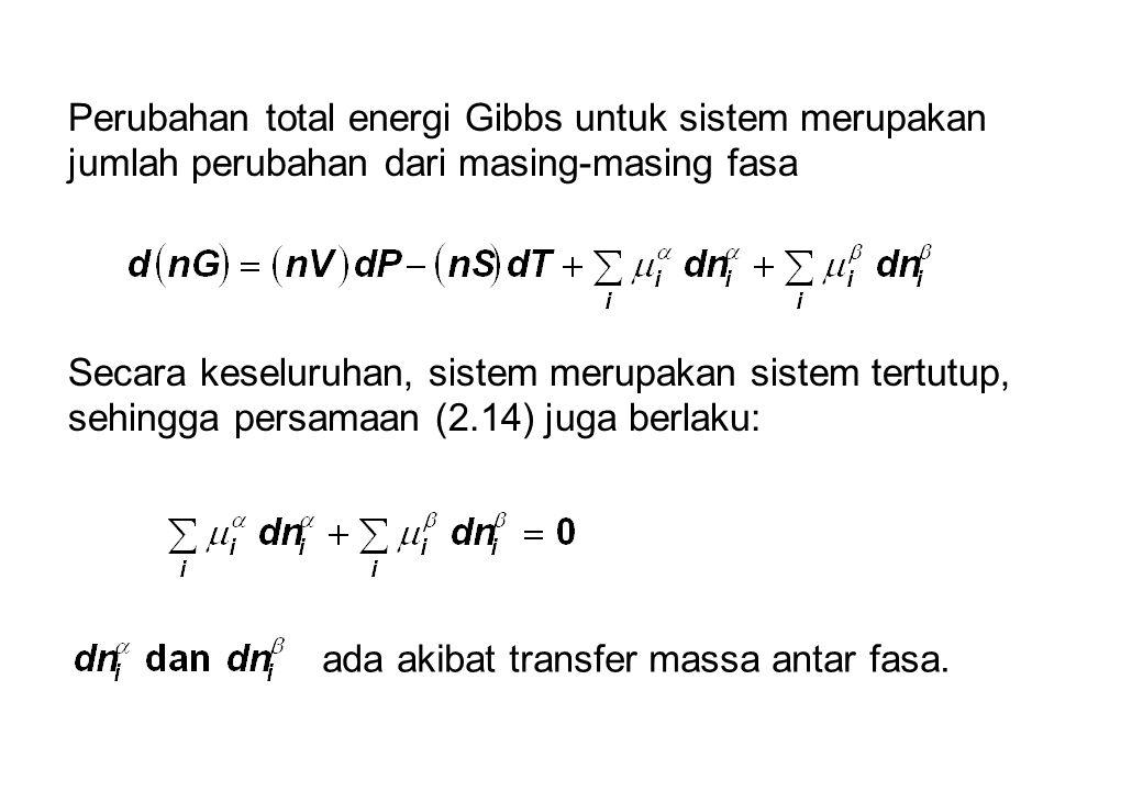 Perubahan total energi Gibbs untuk sistem merupakan jumlah perubahan dari masing-masing fasa