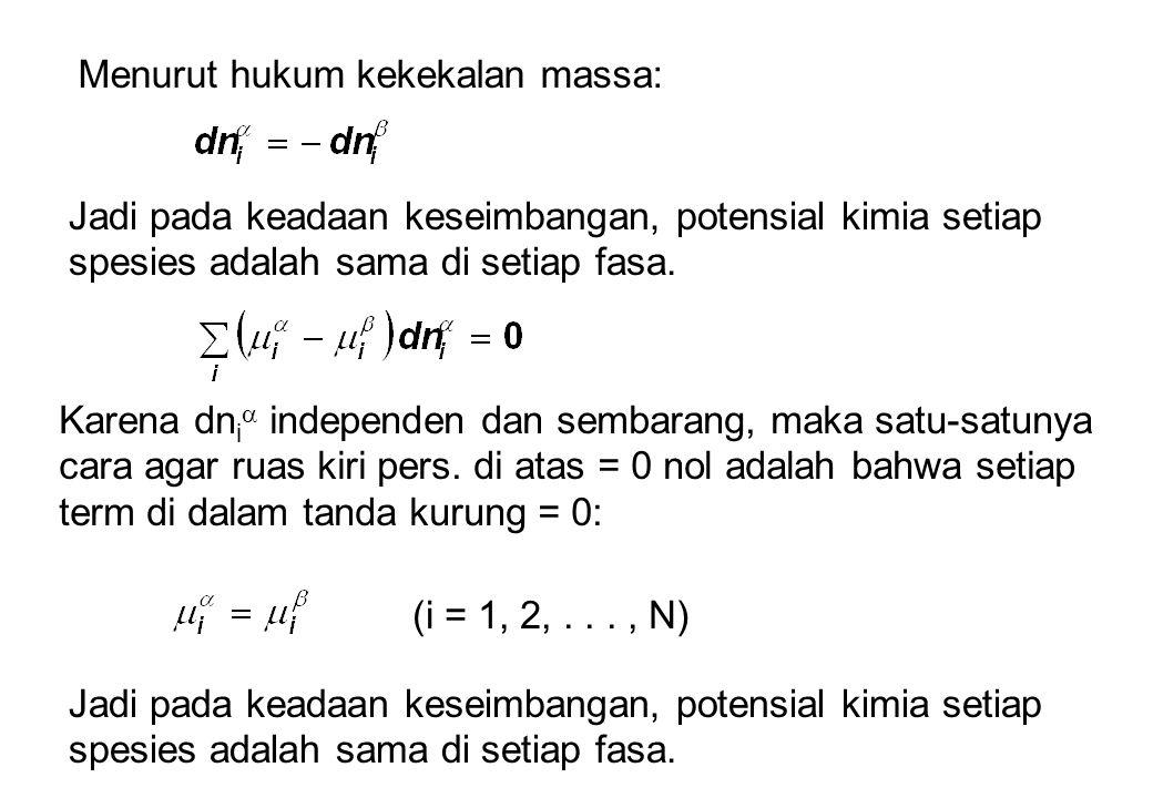 Menurut hukum kekekalan massa: