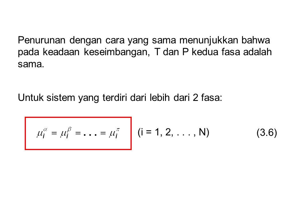 Penurunan dengan cara yang sama menunjukkan bahwa pada keadaan keseimbangan, T dan P kedua fasa adalah sama.