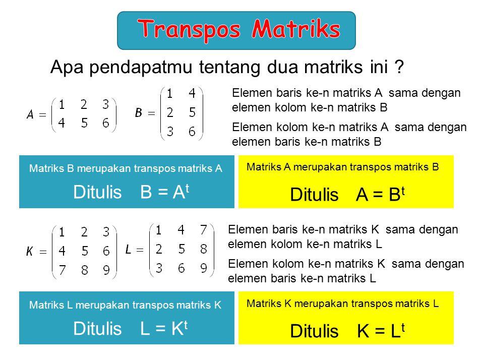 Transpos Matriks Apa pendapatmu tentang dua matriks ini