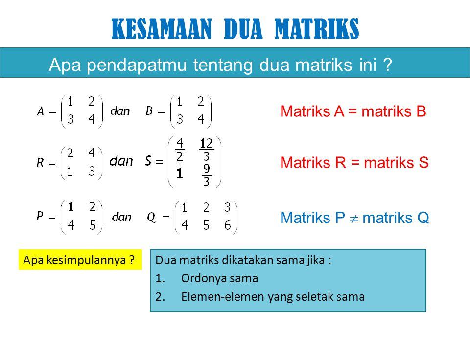 KESAMAAN DUA MATRIKS Apa pendapatmu tentang dua matriks ini