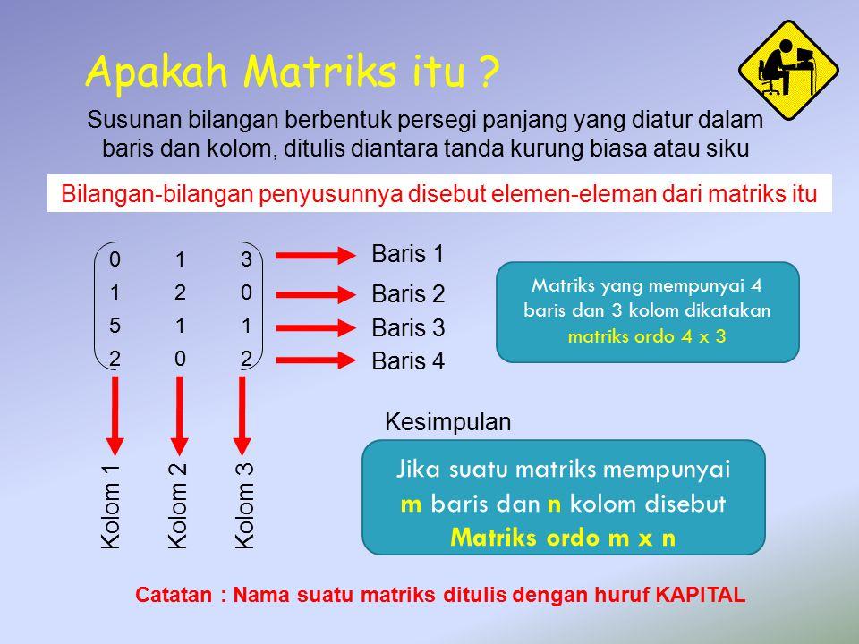 Apakah Matriks itu Jika suatu matriks mempunyai