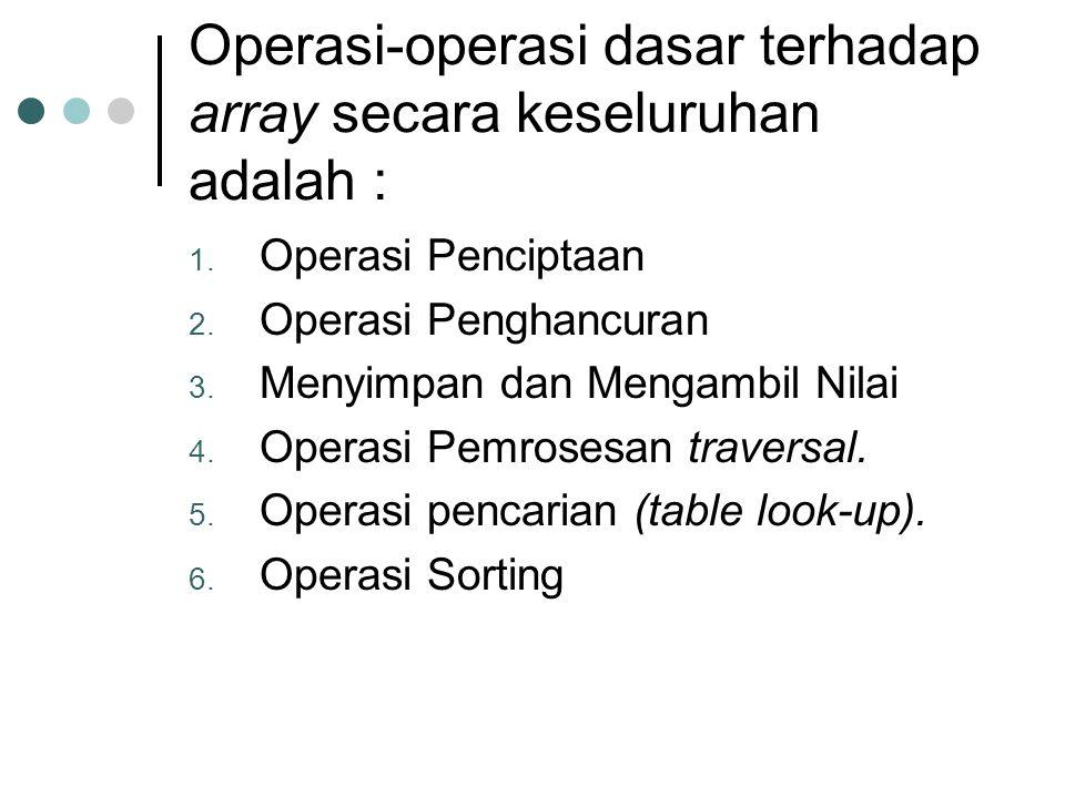 Operasi-operasi dasar terhadap array secara keseluruhan adalah :