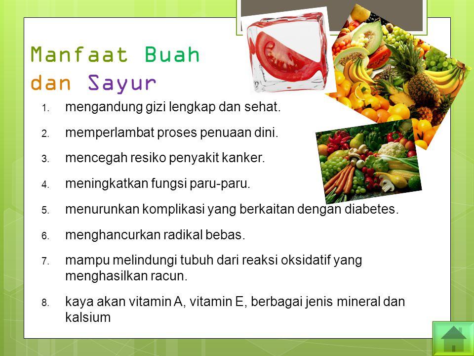 Manfaat Buah dan Sayur mengandung gizi lengkap dan sehat.