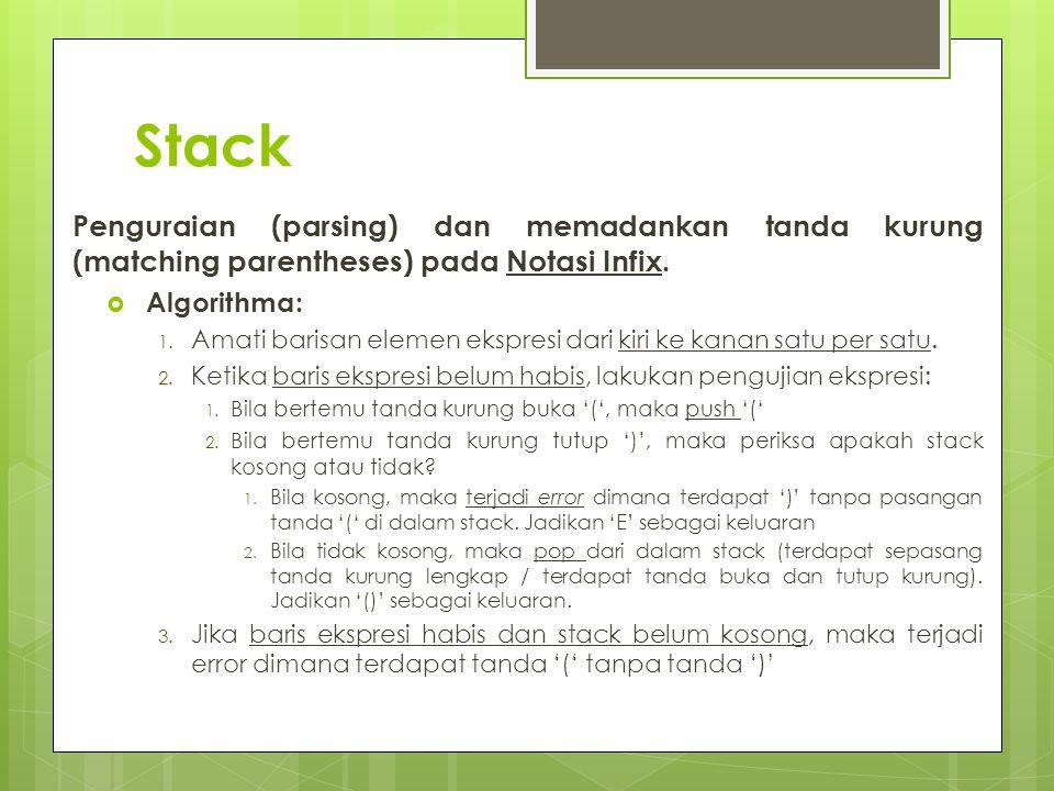 Stack Penguraian (parsing) dan memadankan tanda kurung (matching parentheses) pada Notasi Infix. Algorithma: