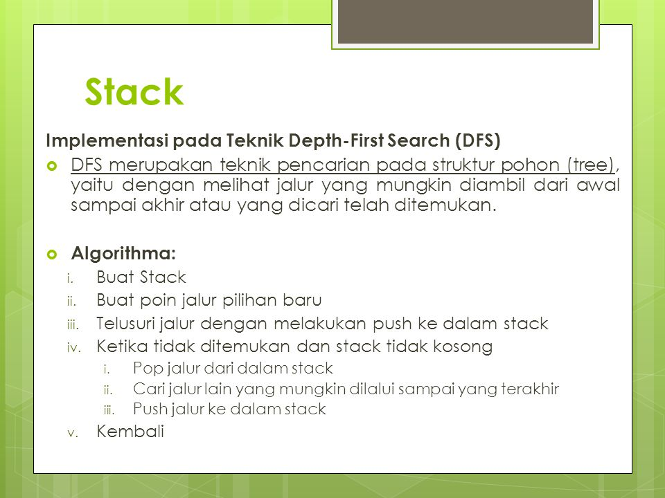 Stack Implementasi pada Teknik Depth-First Search (DFS)