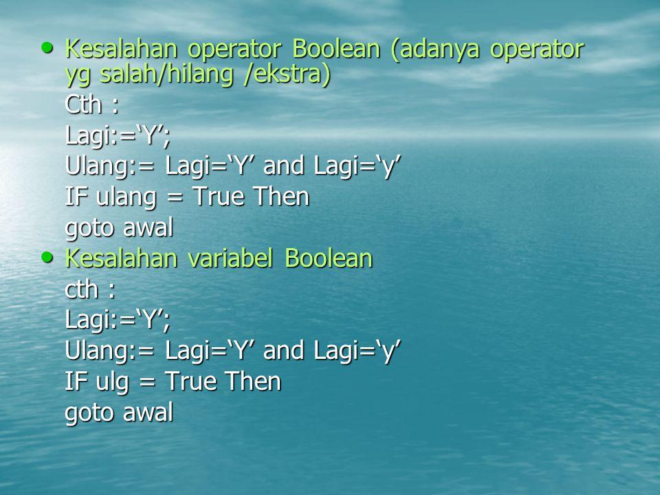 Kesalahan operator Boolean (adanya operator yg salah/hilang /ekstra)