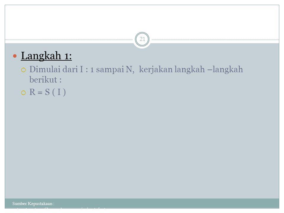 Langkah 1: Dimulai dari I : 1 sampai N, kerjakan langkah –langkah berikut : R = S ( I )