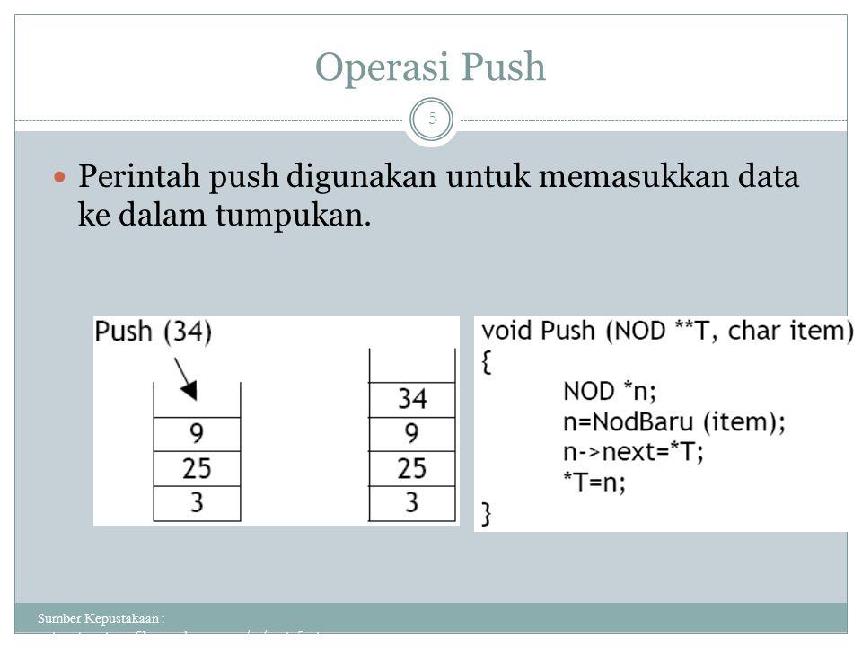 Operasi Push Perintah push digunakan untuk memasukkan data ke dalam tumpukan.