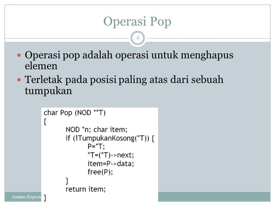 Operasi Pop Operasi pop adalah operasi untuk menghapus elemen