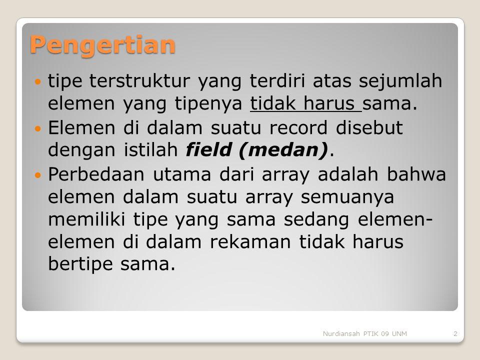 Pengertian tipe terstruktur yang terdiri atas sejumlah elemen yang tipenya tidak harus sama.