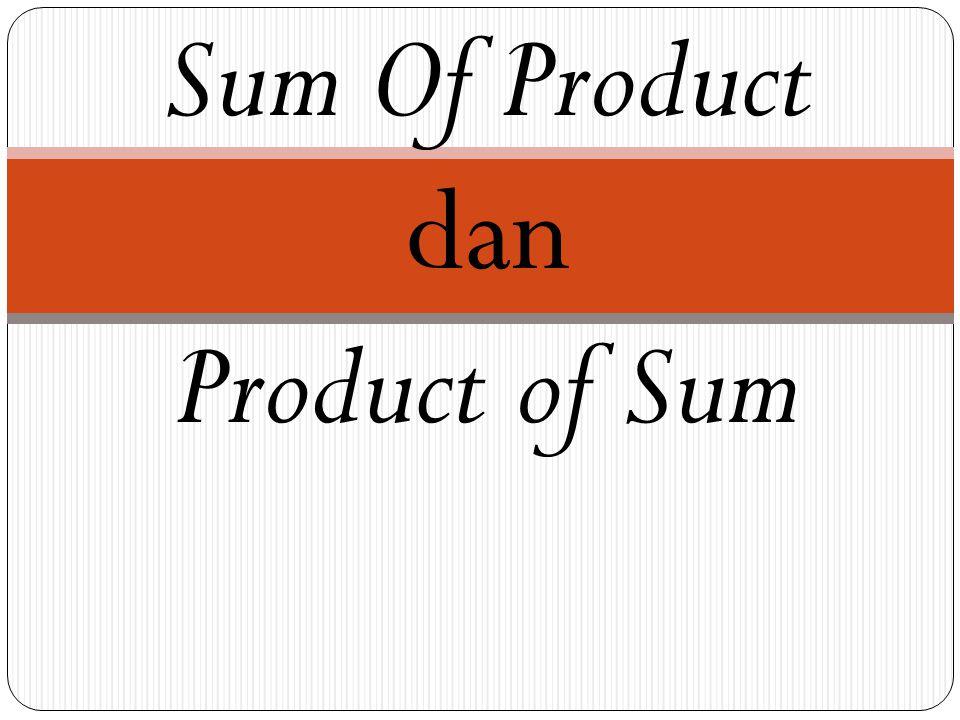 Sum Of Product dan Product of Sum