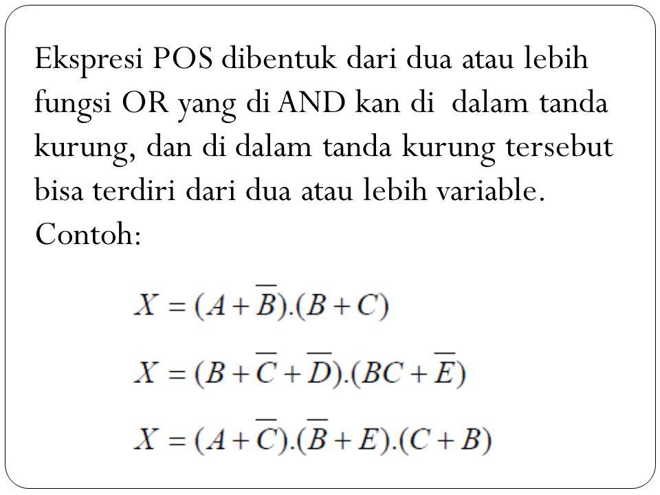 Ekspresi POS dibentuk dari dua atau lebih fungsi OR yang di AND kan di dalam tanda kurung, dan di dalam tanda kurung tersebut bisa terdiri dari dua atau lebih variable.