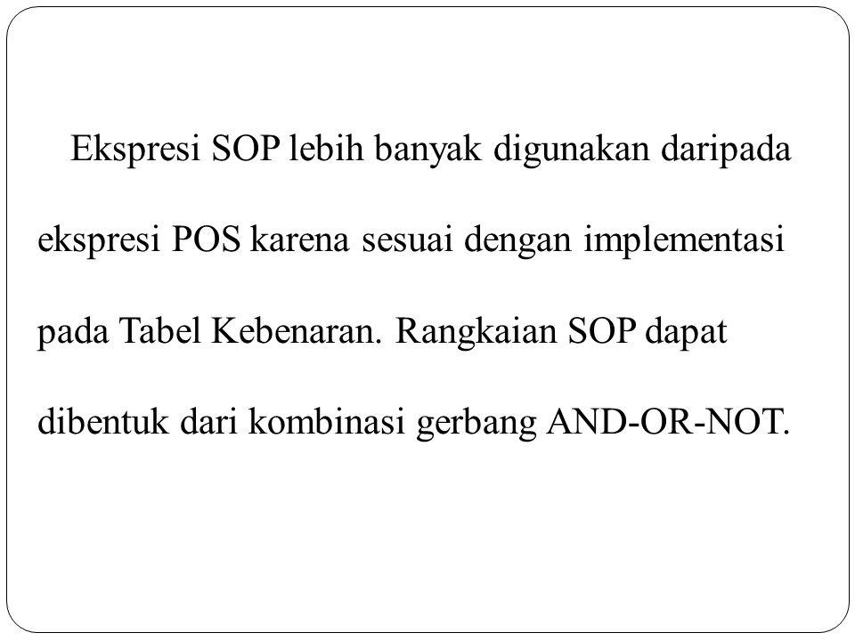 Ekspresi SOP lebih banyak digunakan daripada ekspresi POS karena sesuai dengan implementasi pada Tabel Kebenaran.