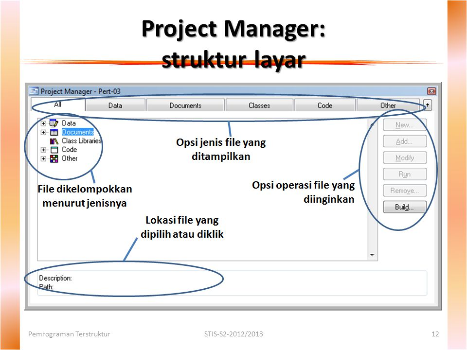 Project Manager: struktur layar