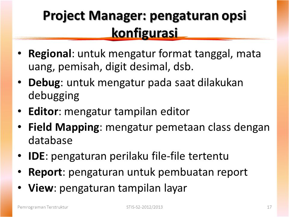 Project Manager: pengaturan opsi konfigurasi