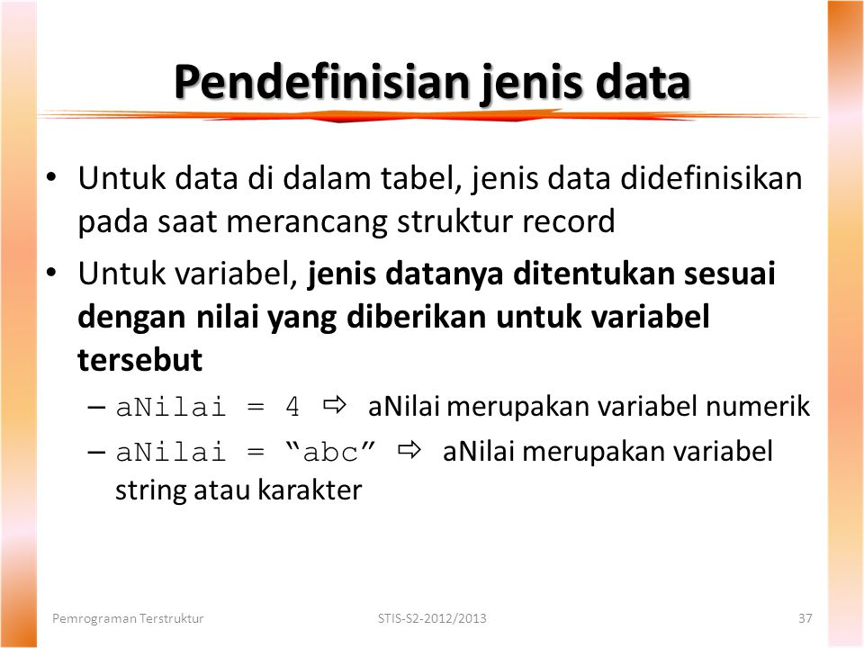 Pendefinisian jenis data
