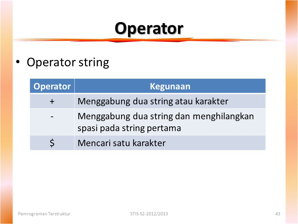 Operator Operator string Operator Kegunaan +