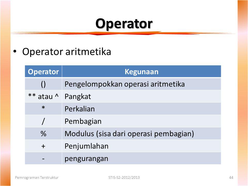 Operator Operator aritmetika Operator Kegunaan ()