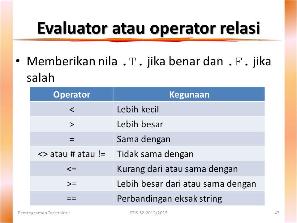 Evaluator atau operator relasi