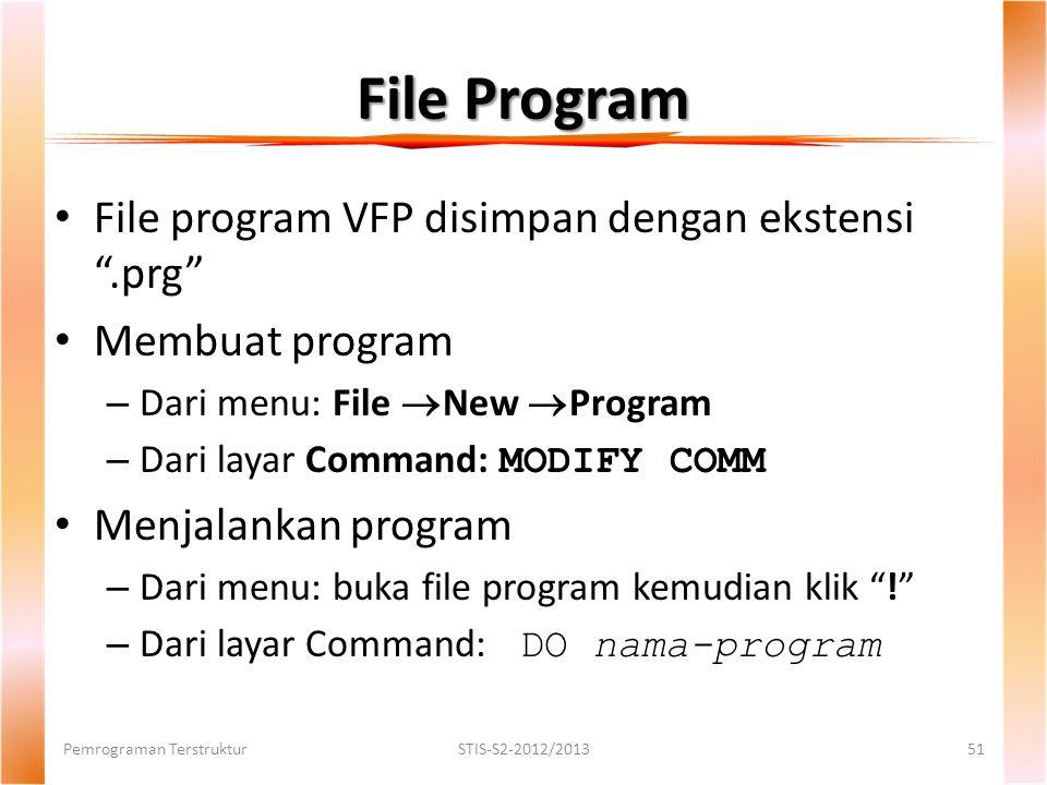 File Program File program VFP disimpan dengan ekstensi .prg