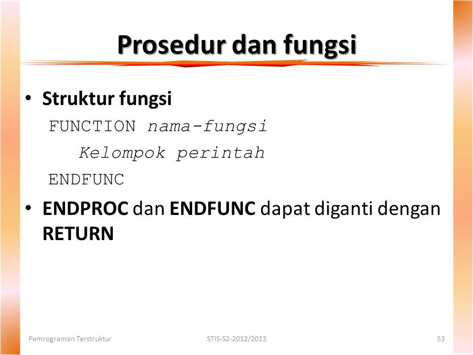 Prosedur dan fungsi Struktur fungsi