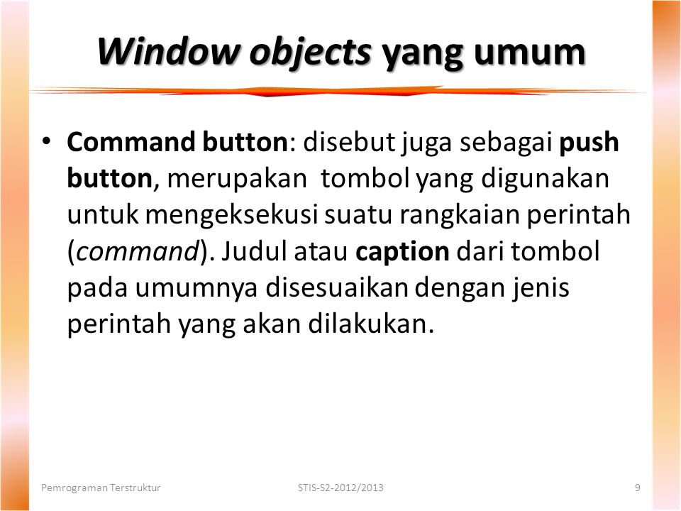 Window objects yang umum