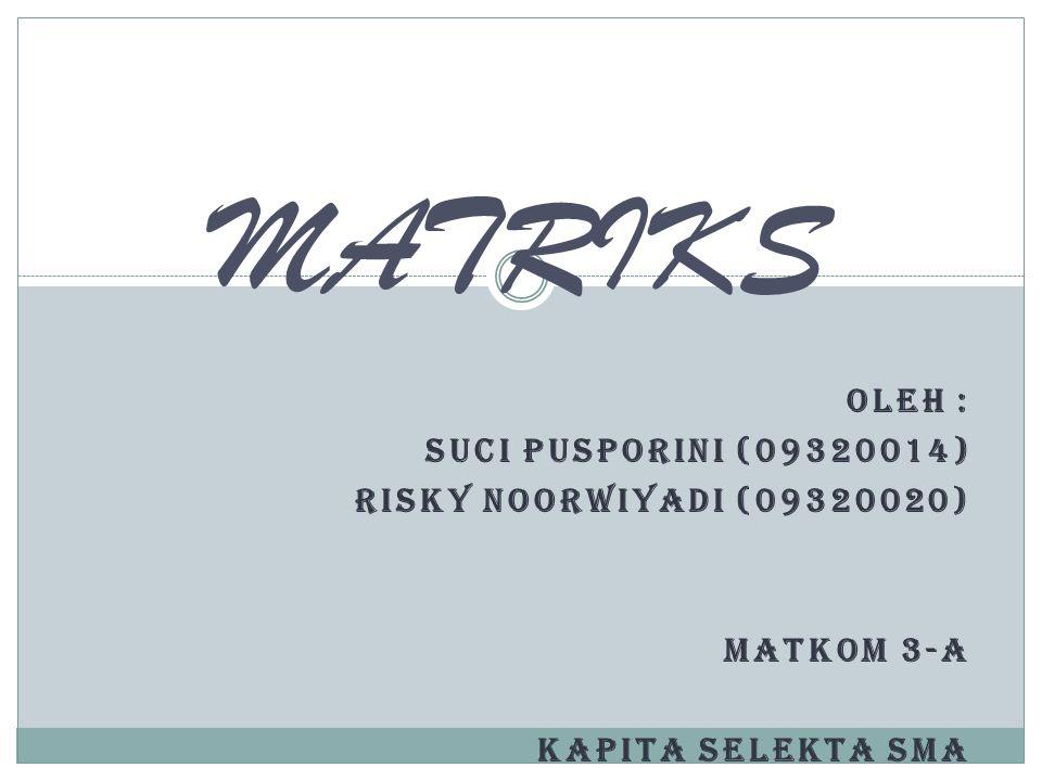 MATRIKS Oleh : Suci Pusporini (09320014) Risky Noorwiyadi (09320020)