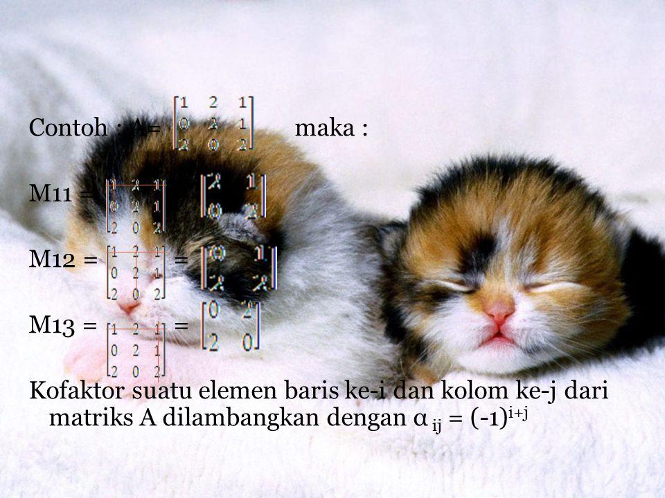 Contoh : A= maka : M11 = = M12 = = M13 = = Kofaktor suatu elemen baris ke-i dan kolom ke-j dari matriks A dilambangkan dengan α ij = (-1)i+j