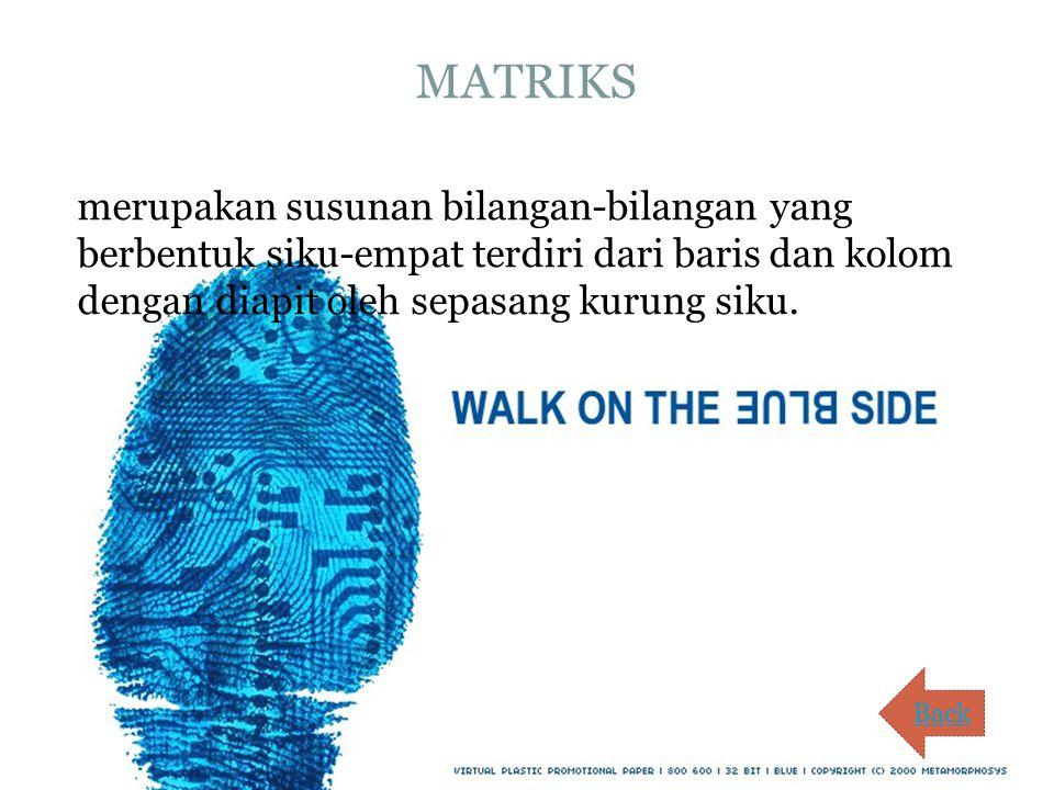 MATRIKS merupakan susunan bilangan-bilangan yang berbentuk siku-empat terdiri dari baris dan kolom dengan diapit oleh sepasang kurung siku.