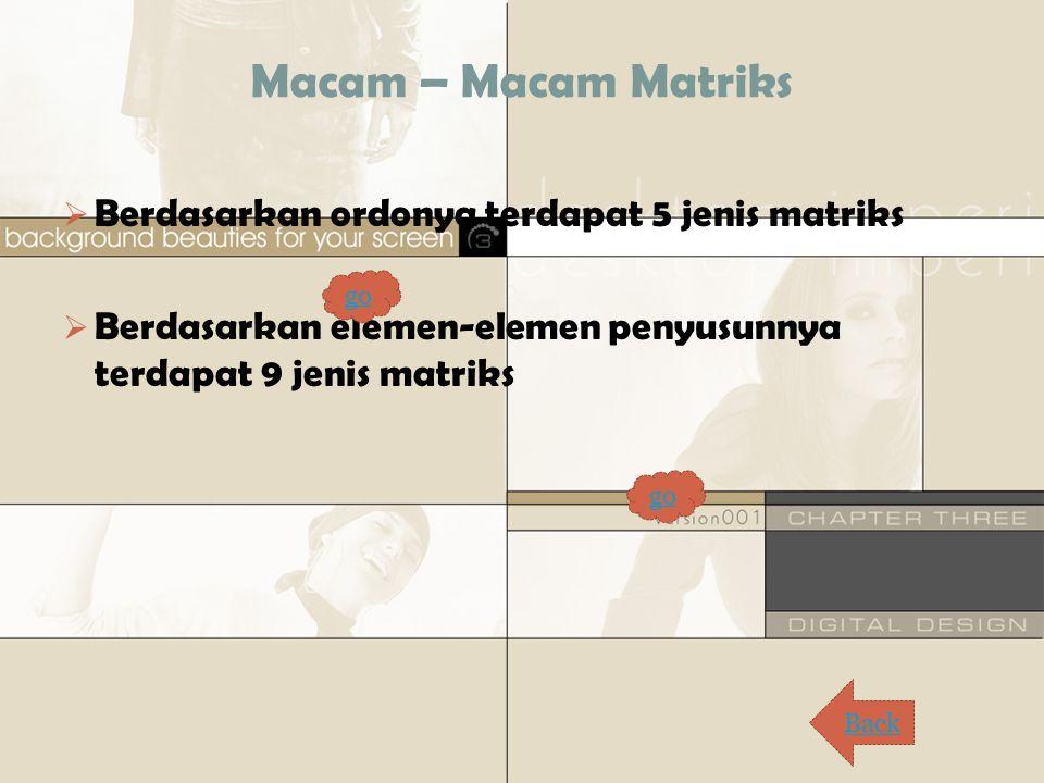 Macam – Macam Matriks Berdasarkan ordonya terdapat 5 jenis matriks