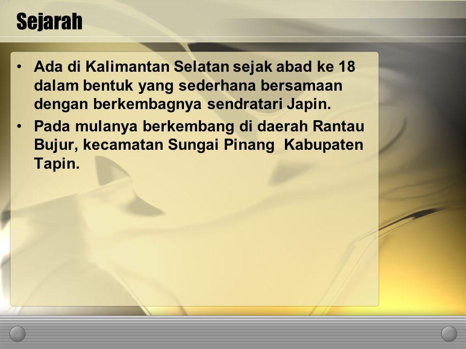 Sejarah Ada di Kalimantan Selatan sejak abad ke 18 dalam bentuk yang sederhana bersamaan dengan berkembagnya sendratari Japin.