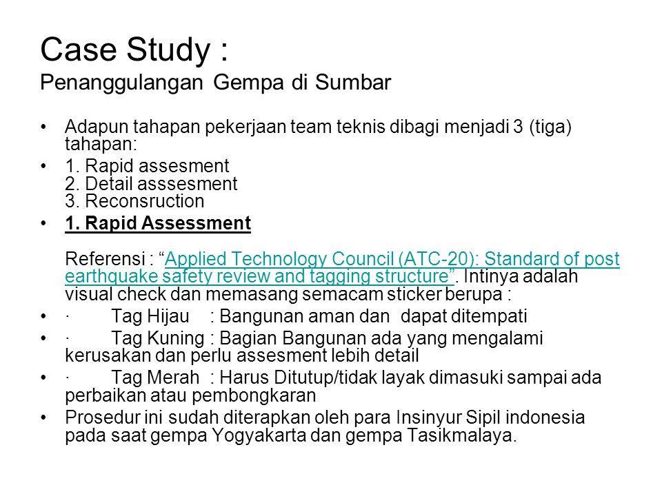 Case Study : Penanggulangan Gempa di Sumbar
