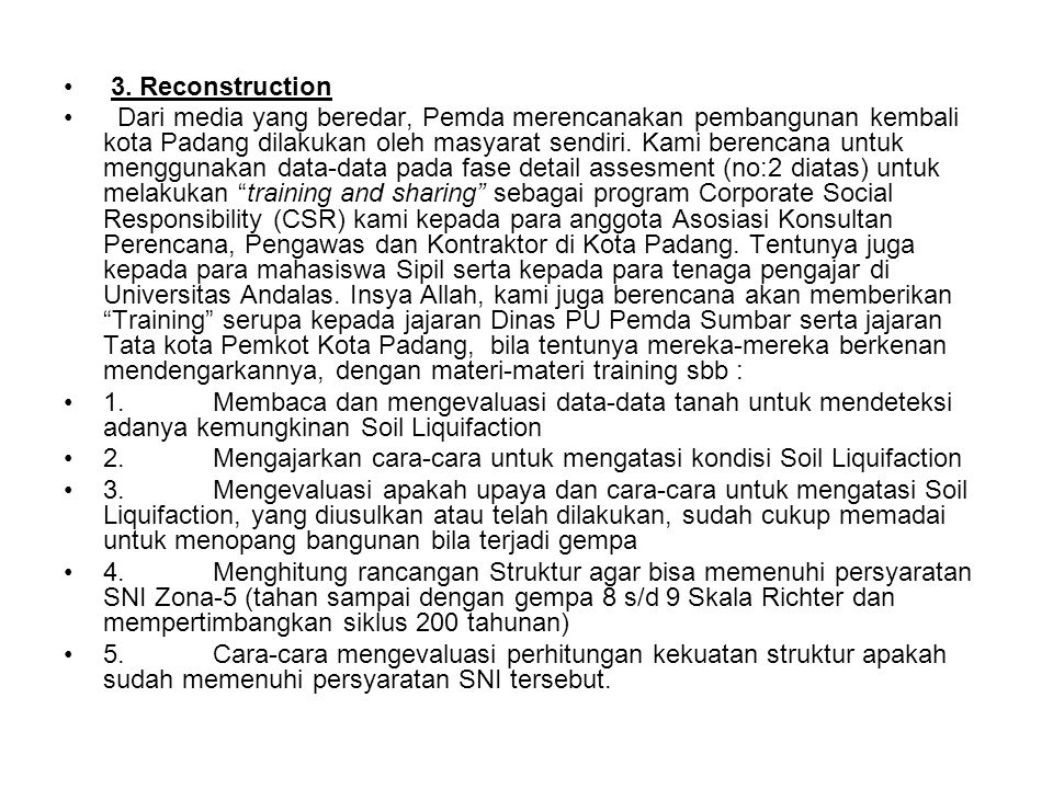 3. Reconstruction