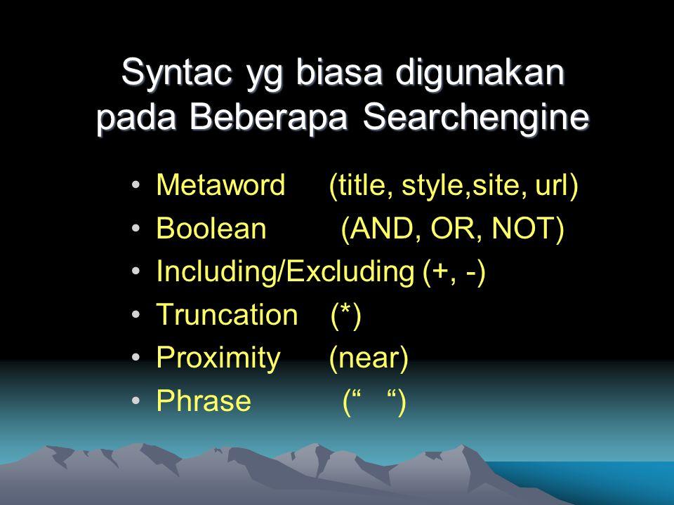 Syntac yg biasa digunakan pada Beberapa Searchengine