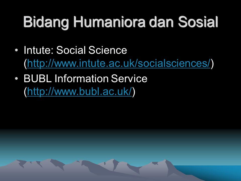 Bidang Humaniora dan Sosial