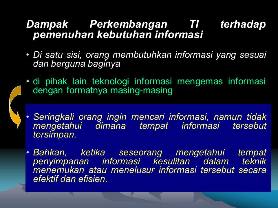 Dampak Perkembangan TI terhadap pemenuhan kebutuhan informasi