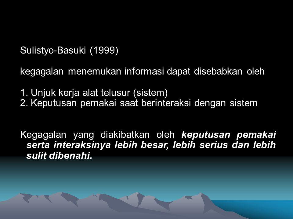 Sulistyo-Basuki (1999) kegagalan menemukan informasi dapat disebabkan oleh. 1. Unjuk kerja alat telusur (sistem)