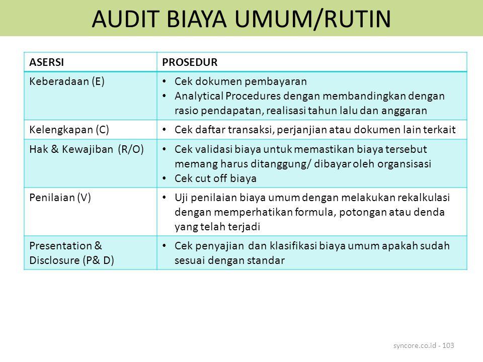 AUDIT BIAYA UMUM/RUTIN