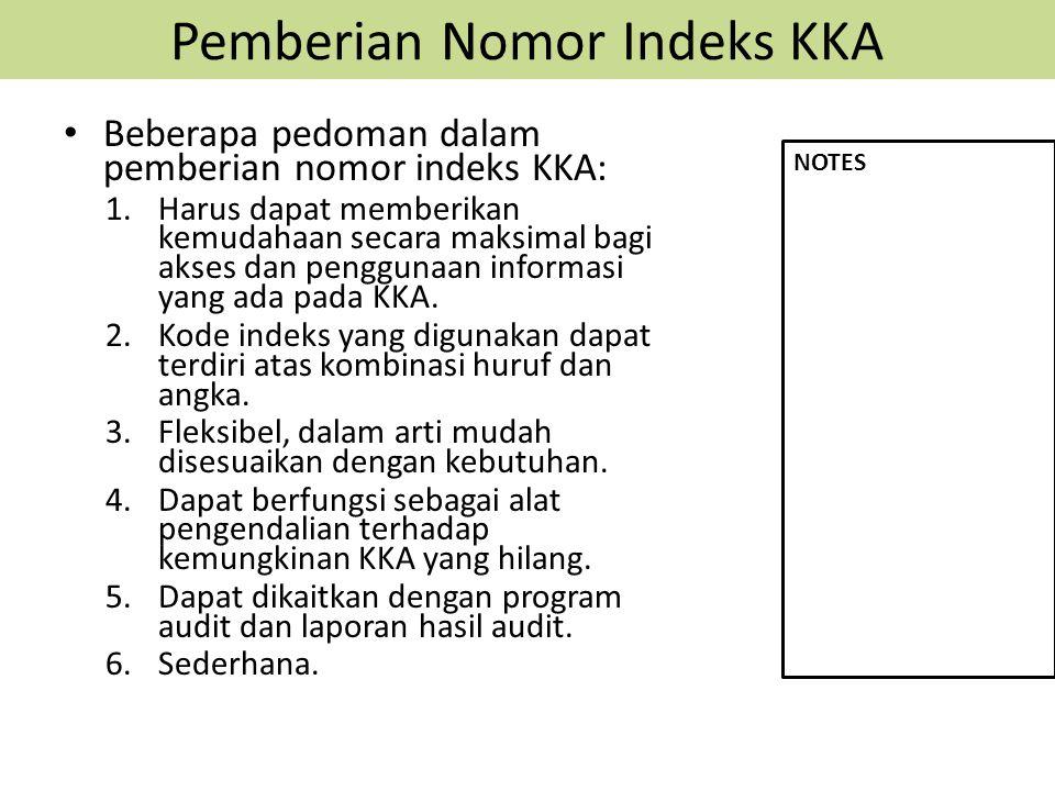 Pemberian Nomor Indeks KKA