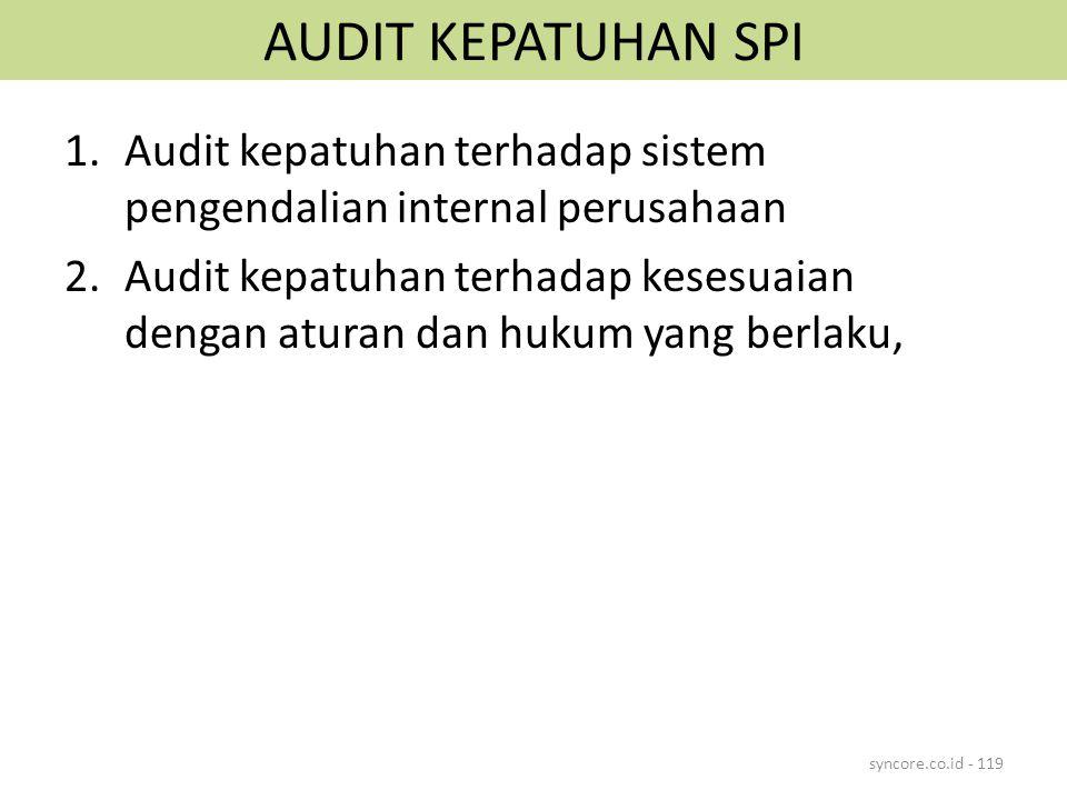 AUDIT KEPATUHAN SPI Audit kepatuhan terhadap sistem pengendalian internal perusahaan.