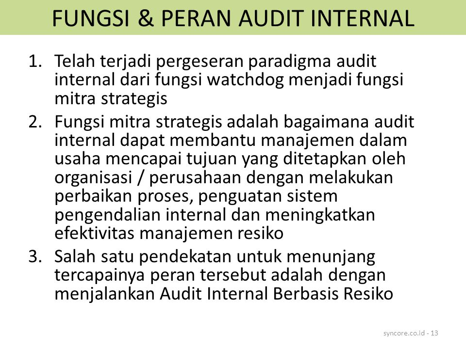 FUNGSI & PERAN AUDIT INTERNAL