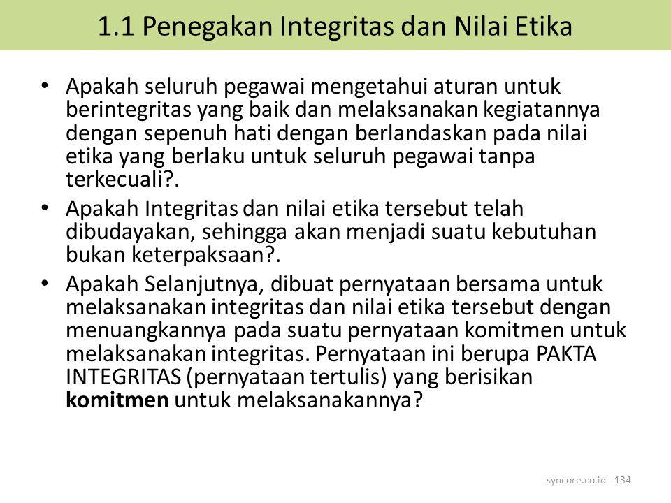1.1 Penegakan Integritas dan Nilai Etika