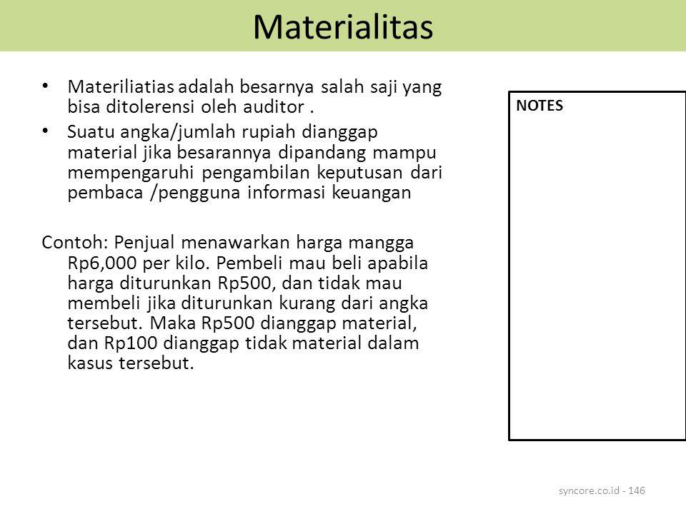 Materialitas Materiliatias adalah besarnya salah saji yang bisa ditolerensi oleh auditor .